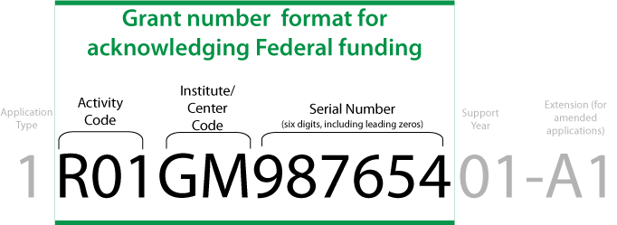 The proper grant number format for acknowledging NIH funding is: R01GM987654. (activity code, institute/center code, and six digit serial number including leading zeros)
