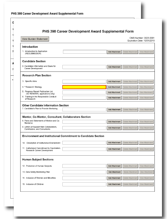 G 410 Phs 398 Career Development Award Supplemental Form