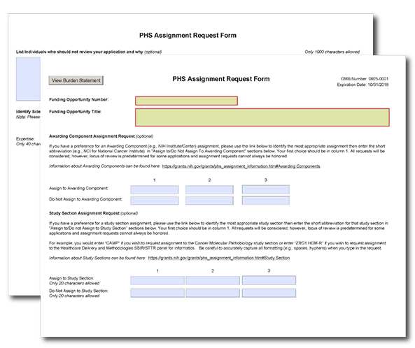 G600 PHS Assignment Request Form – Request Form