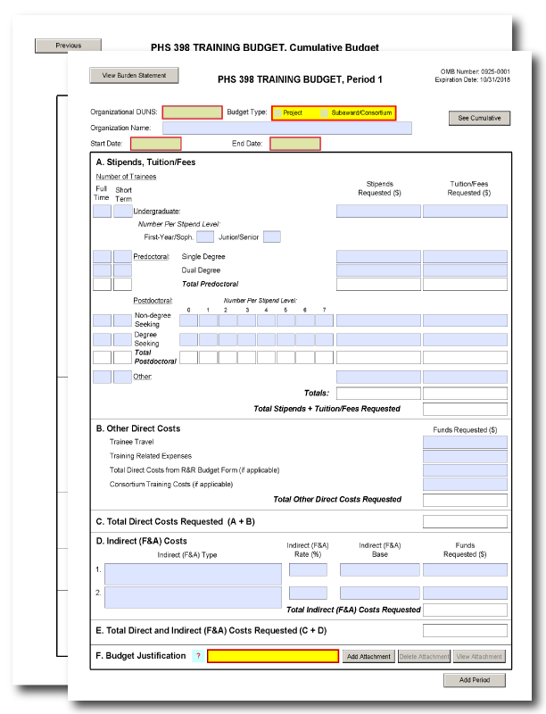 G330 PHS 398 Training Budget Form – Budget Form