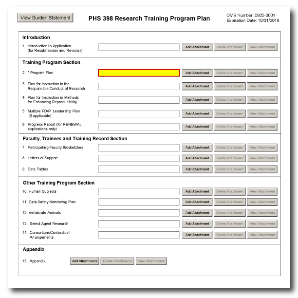 G420 Phs 398 Research Training Program Plan Form