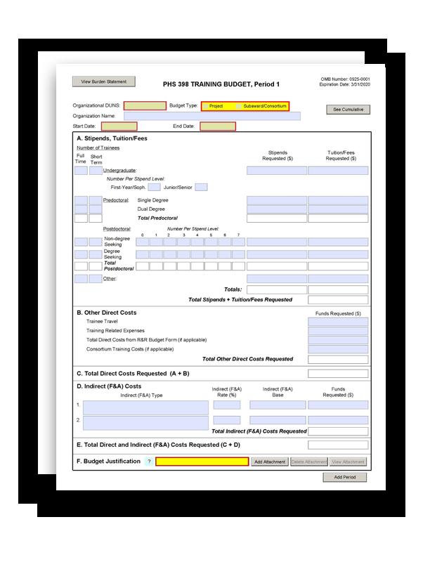 g 330 phs 398 training budget form