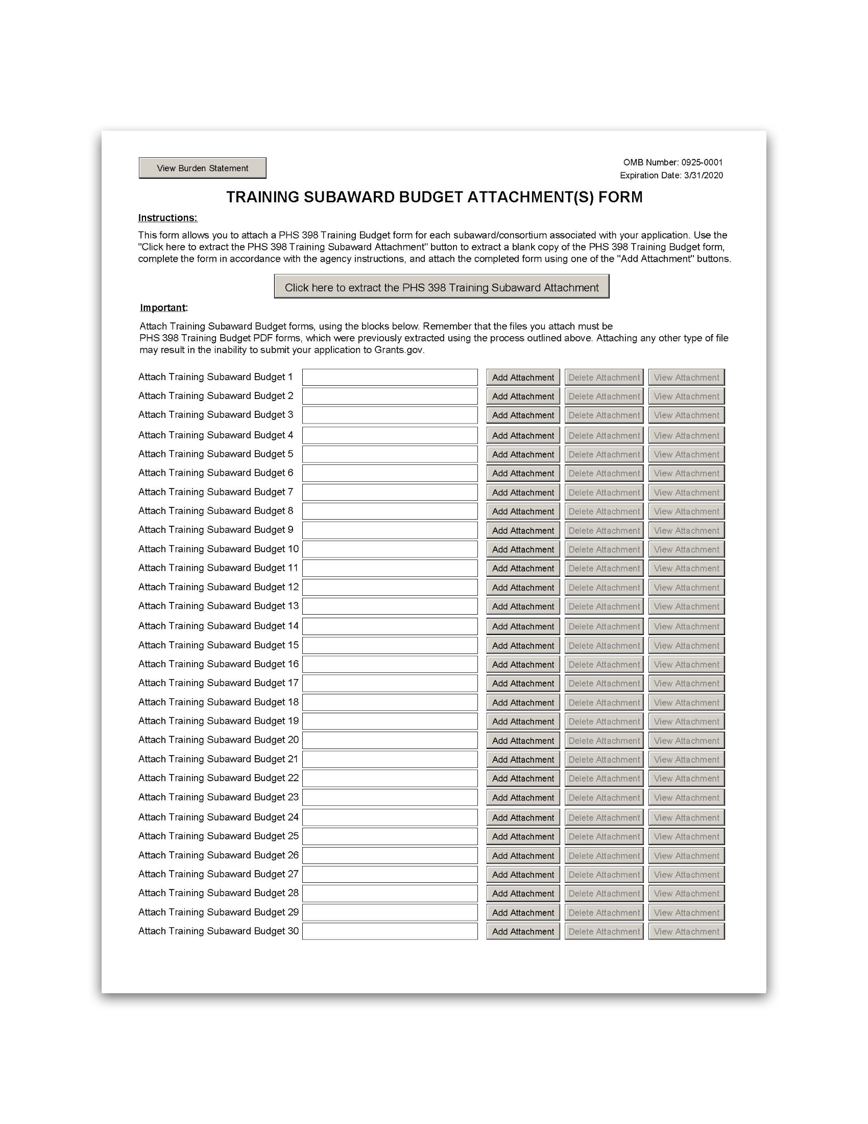 G 340 Phs 398 Training Subaward Budget Attachment S Form