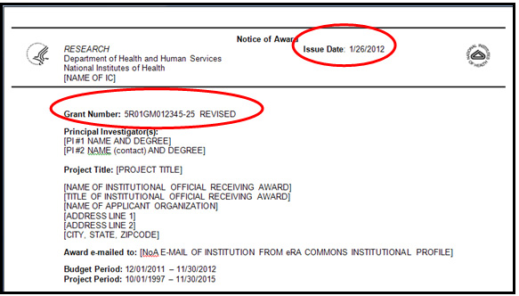 "Example 2:  Revised Award:  1) ""REVISED"" shows next to Grant Number Field; and, 2) Issue Date is new.  This Issue Date is not the ""initial Issue Date"" because the NoA shows ""REVISED""."