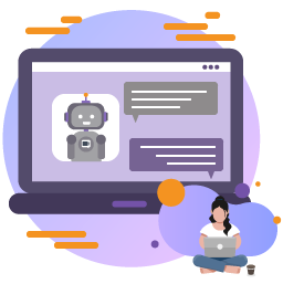vector image of a robot chatting with a person on a computer