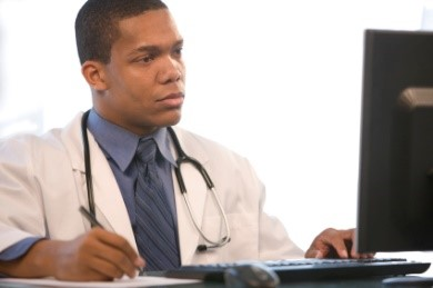 Doctor on a computer image
