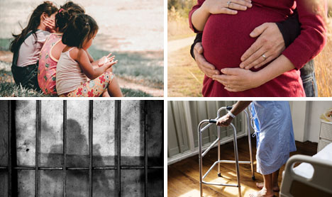 Four images including, children, a pregnant women, a prisoner, and elderly person in a hospital gown