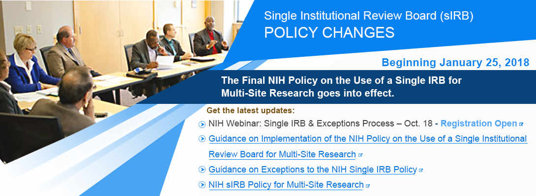 Single Institutional Review Board Policy changes